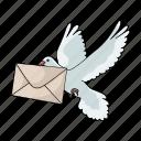 bird, correspondence, letter, mail, pigeon icon
