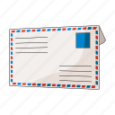 correspondence, envelope, letter, mail, stamp icon