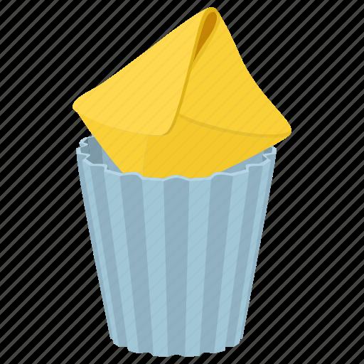 bin mail, blank, cartoon, envelope, letter, message, trash icon