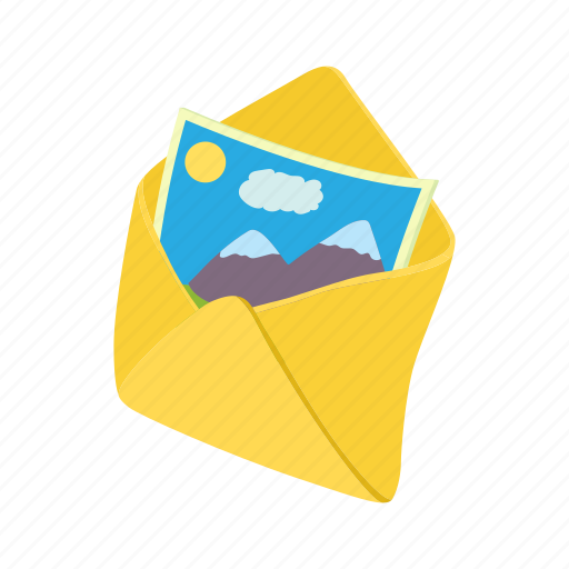 cartoon, envelope, letter, mail, message, photo, sheet icon