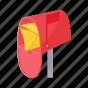 box, cartoon, envelope, flag, message, open, send icon