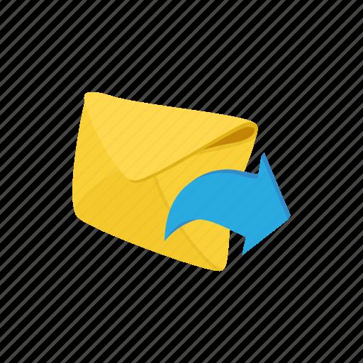 arrow, cartoon, envelope, letter, mail, message, paper icon