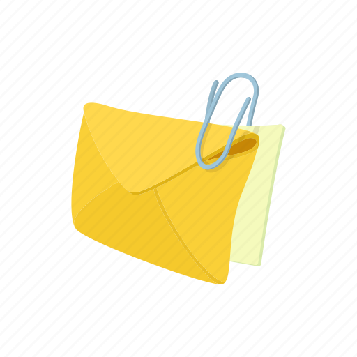 cartoon, clip message, envelope, letter, mail, sheet, steel icon