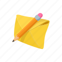 cartoon, envelope, letter, mail, message, paper, pencil