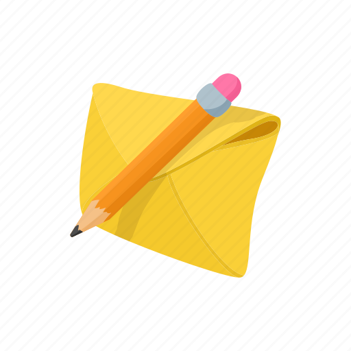 cartoon, envelope, letter, mail, message, paper, pencil icon