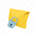 cartoon, envelope, letter, lock, mail, message, padlock icon