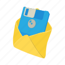 cartoon, diskette, envelope, floppy, letter, mail, message icon