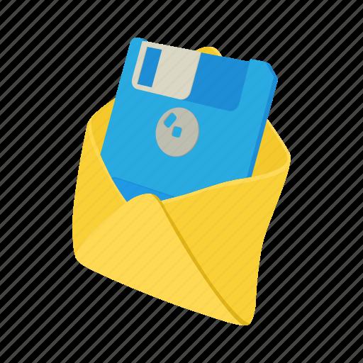 cartoon, diskette, envelope, floppy, letter, mail, message icon