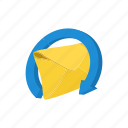 arrow, cartoon, envelope, letter, mail, message, paper icon