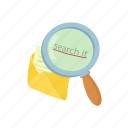 cartoon, envelope, glass, letter, magnifying, mail, message icon