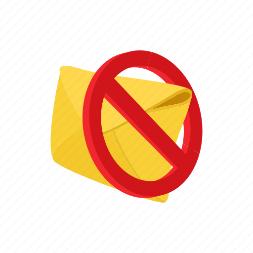 ban, cartoon, envelope, letter, mail, message, prohibition icon