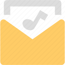 attachment, email, envelope, mail, message, music icon