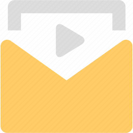 attachment, email, envelope, mail, message, video email icon