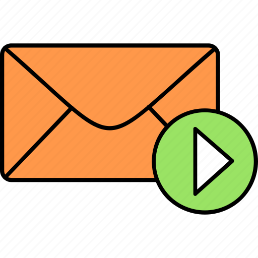 email, envelope, inbox, letter, mail, message, video icon