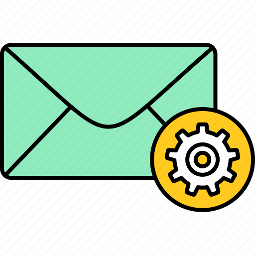email, envelope, inbox, letter, mail, message, settings icon