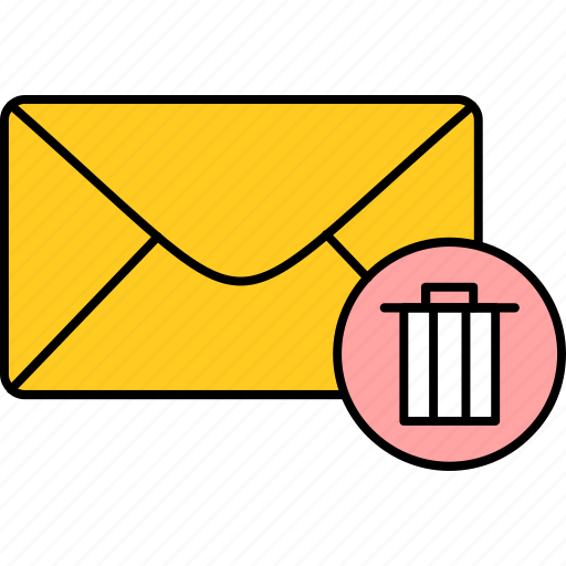 delete, email, inbox, mail, message, remove, trash icon