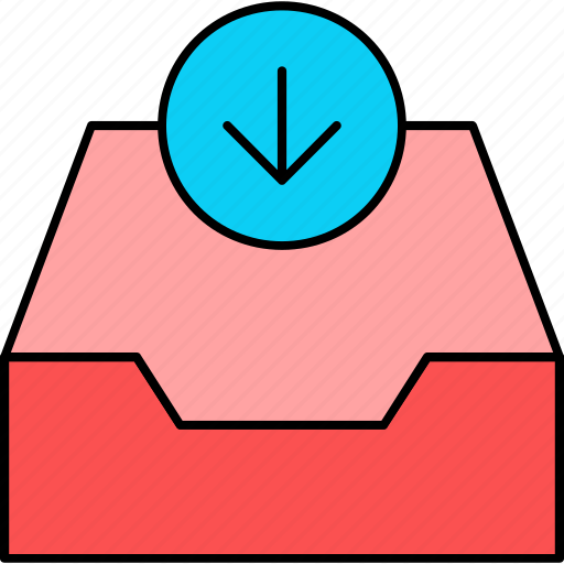 archive, download, inbox, letter, mail, message, received icon