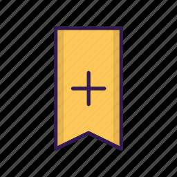add, bookmark, favorite, ribbon, vertical icon