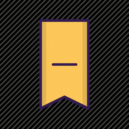 bookmark, favorite, minus, remove, ribbon, vertical icon