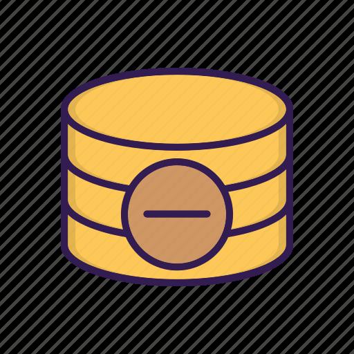 data, database, delete, minus, remove, storage icon