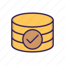 check mark, database, database accepted icon