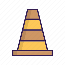 cone, sign, traffic, traffic cone, under construction icon