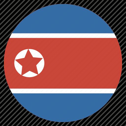 circle, country, flag, korea, korean, national, north icon