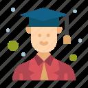 avatar, graduate, male icon