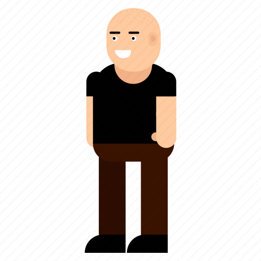 bald, character, cheerful, hairstyle, male, man icon