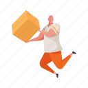 character, builder, man, box, package, logistics, delivery