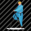 character, builder, man, maintenance, construction, ladder