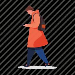 character, builder, man, phone, smartphone, bag, backpack