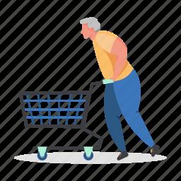 shopping, character, builder, man, shop, cart, commerce