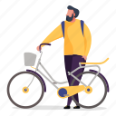 transportation, character, builder, man, bike, bicycle, transport