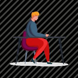 workspace, man, desk, chair, smartphone, phone
