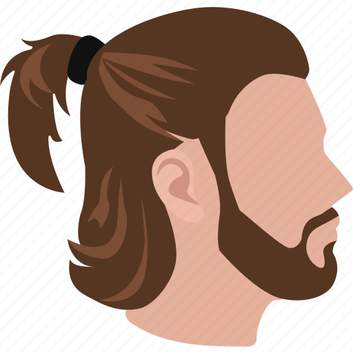 hair, haircut, hairstyle, male, man, mens, ponytail icon