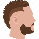 afro, curly, fade, faux hawk, hair, hairstyle, mohawk icon