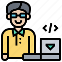 developer, man, professional, programmer, technician icon