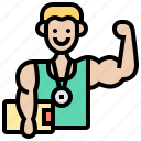 exercise, fitness, male, strong, trainer icon
