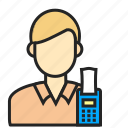 avatar, cashier, man, profession icon