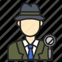 avatar, detective, man, profession icon