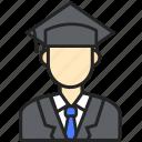 avatar, bachelor, man, profession icon