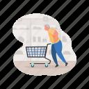 shopping, e, commerce, shop, man, groceries, store