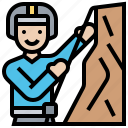 athletic, cliff, climbing, mountain, strength icon