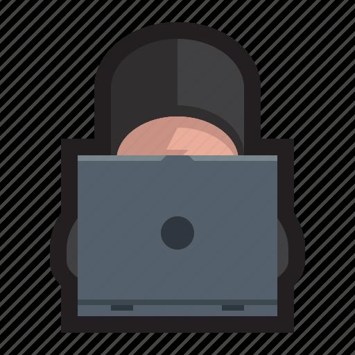 computer, hack, hackathon, hacker, hacking, hoodie, techie icon