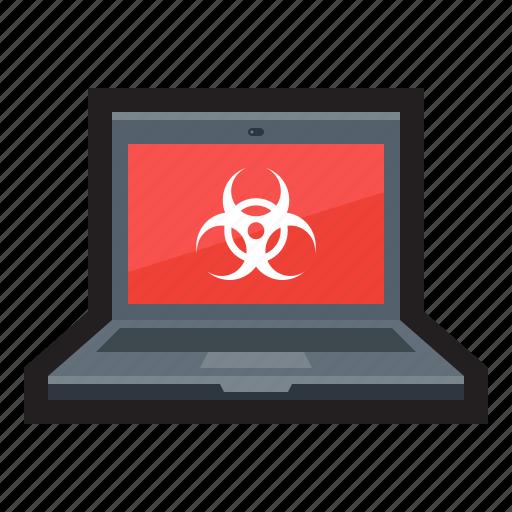 attack, hazard, infection, laptop, malware, threat, vulnerability icon