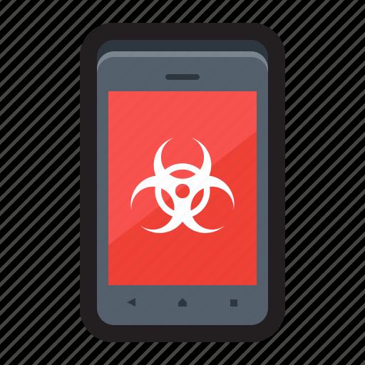 attack, hazard, infection, malware, mobile, threat, vulnerability icon