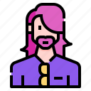 avatar, beard, casual, hair, long, man, profile