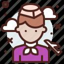 attendant, avatar, flight, hire, job icon