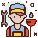 avatar, hire, job, plumber icon